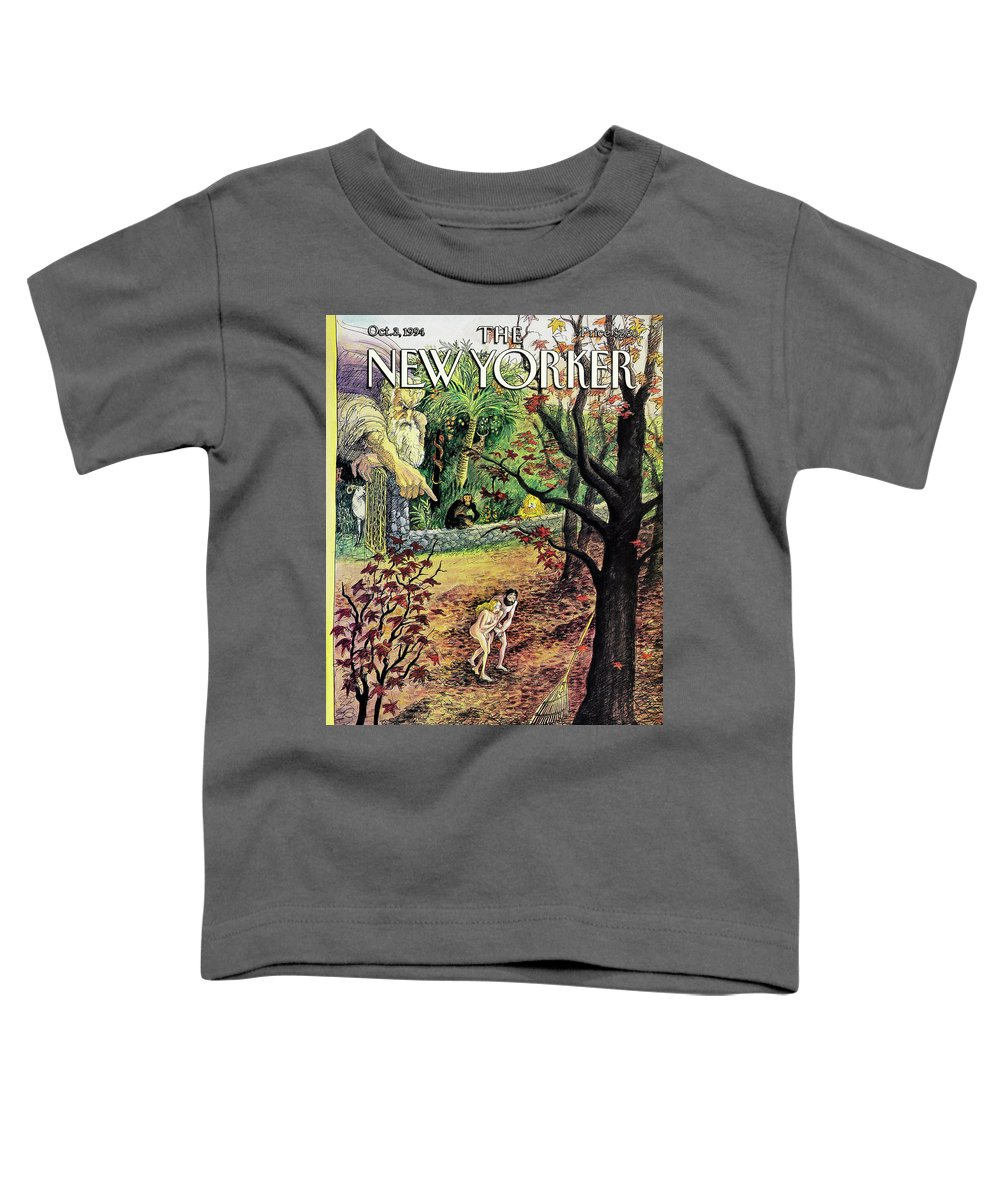 The Fall Toddler T-Shirt featuring the painting New Yorker October 3rd, 1994 by Edward Sorel