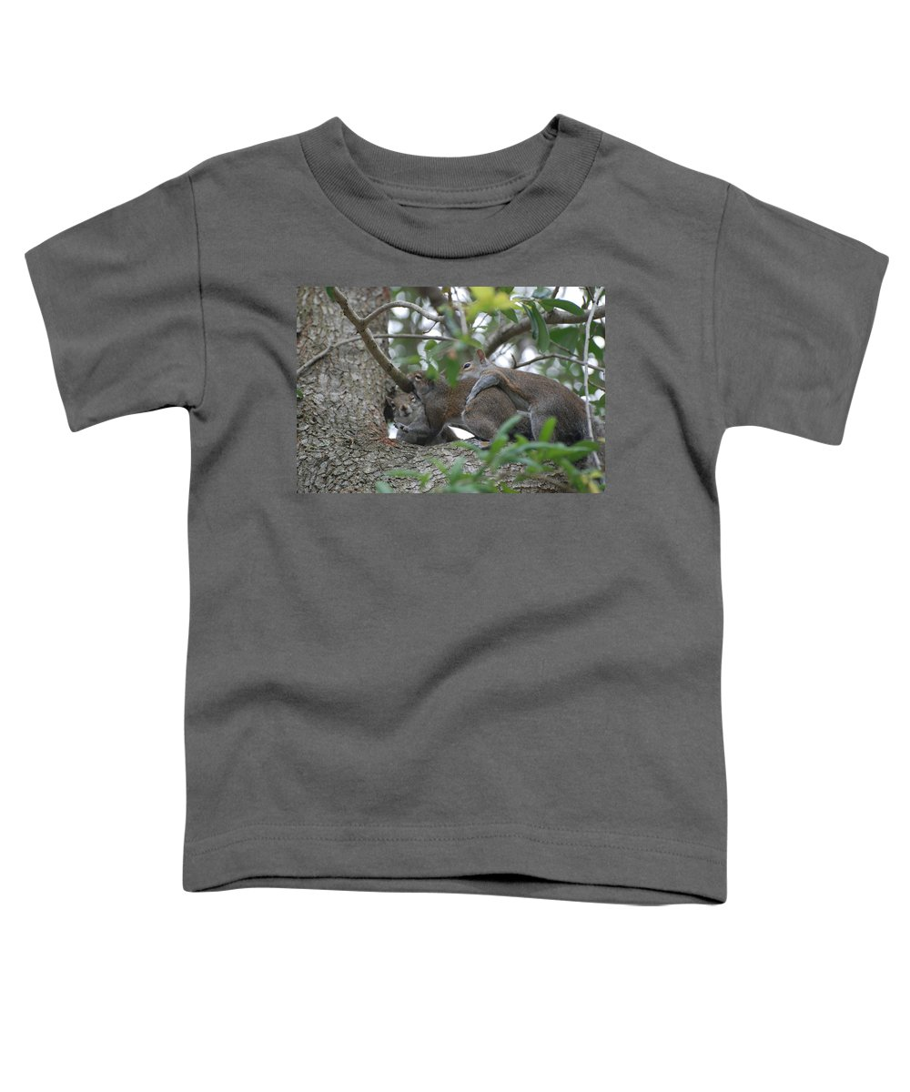 Squirrels Toddler T-Shirt featuring the photograph The Fight For Life by Rob Hans