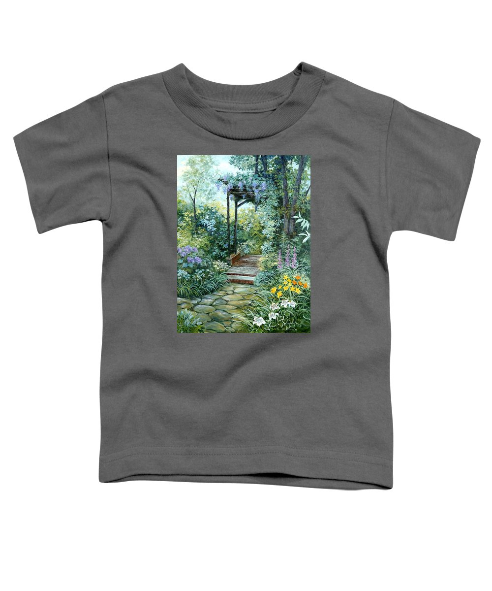 Oil Painting;wisteria;garden Path;lilies;garden;flowers;trellis;trees;stones;pergola;vines; Toddler T-Shirt featuring the painting The Garden Triptych Right Side by Lois Mountz