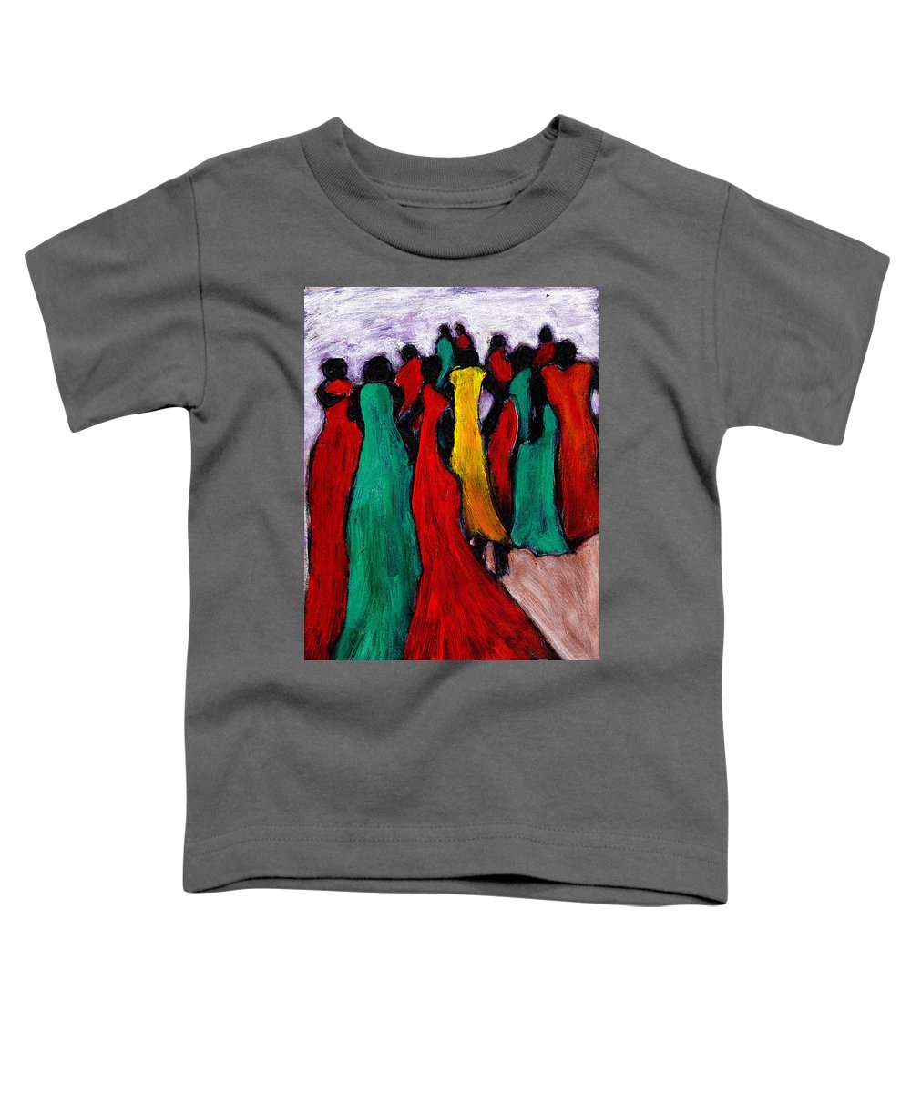 Black Art Toddler T-Shirt featuring the painting The Gathering by Wayne Potrafka