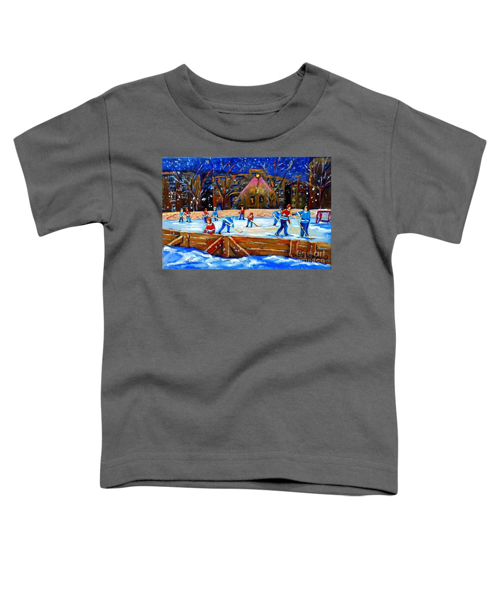 Snow Toddler T-Shirt featuring the painting The Hockey Rink by Carole Spandau