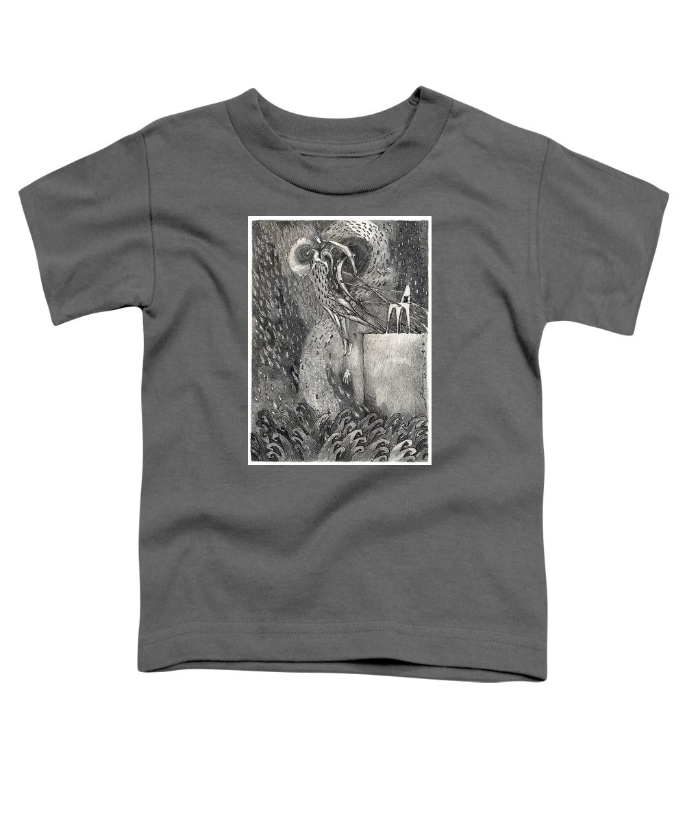 Leap Toddler T-Shirt featuring the drawing The Leap by Juel Grant