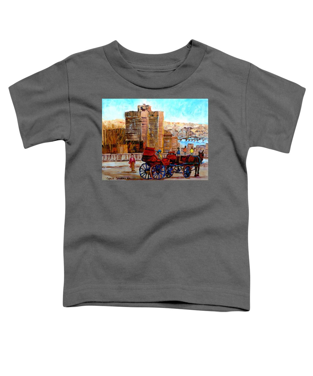 Montreal Street Scene Toddler T-Shirt featuring the painting The Lookout On Mount Royal Montreal by Carole Spandau