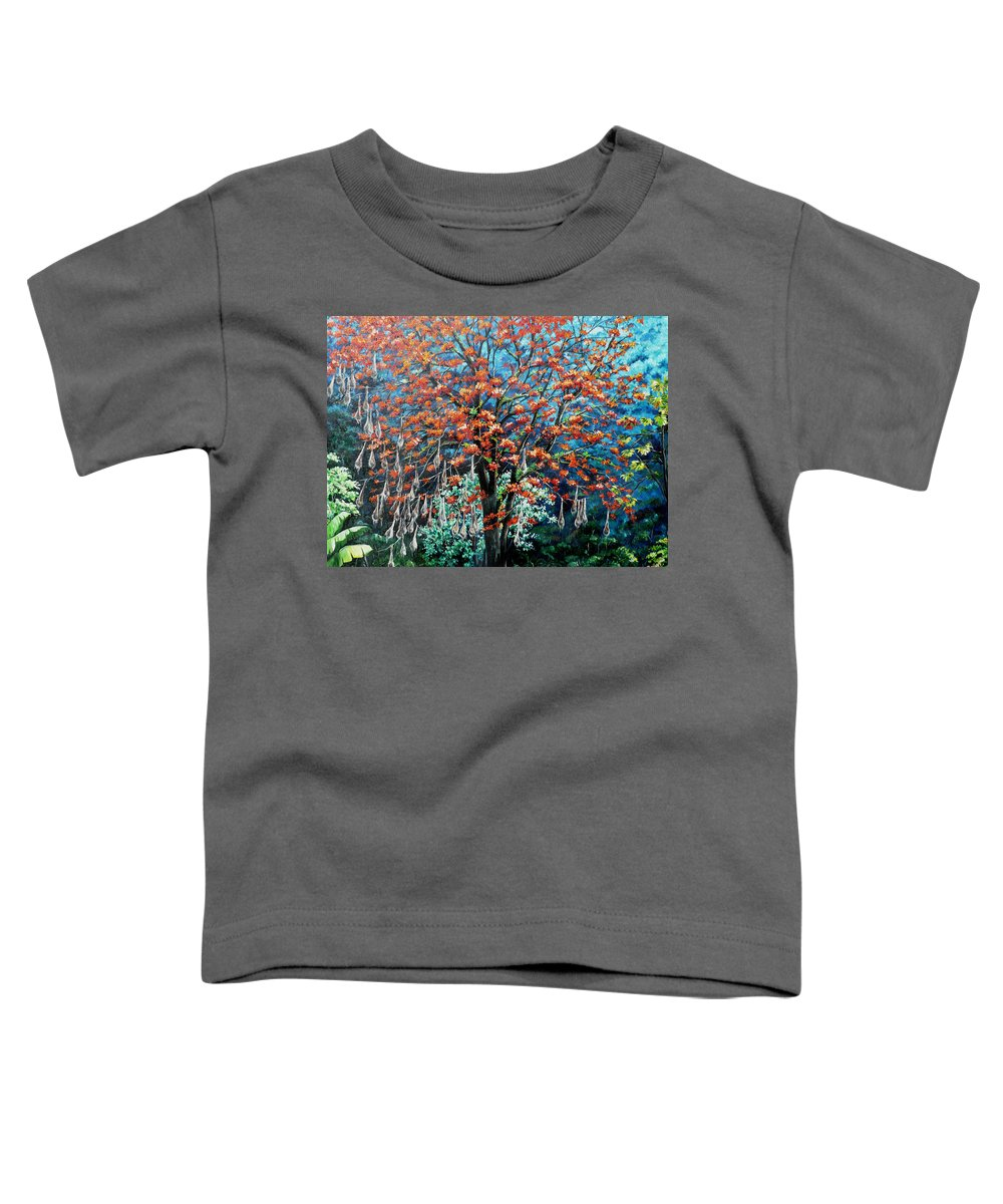 Tree Painting Mountain Painting Floral Painting Caribbean Painting Original Painting Of Immortelle Tree Painting  With Nesting Corn Oropendula Birds Painting In Northern Mountains Of Trinidad And Tobago Painting Toddler T-Shirt featuring the painting The Mighty Immortelle by Karin Dawn Kelshall- Best