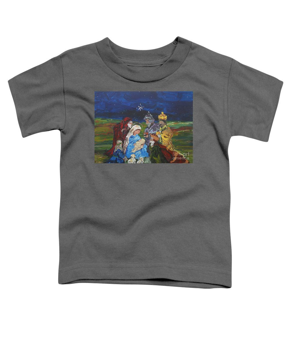Nativity Toddler T-Shirt featuring the painting The Nativity by Reina Resto