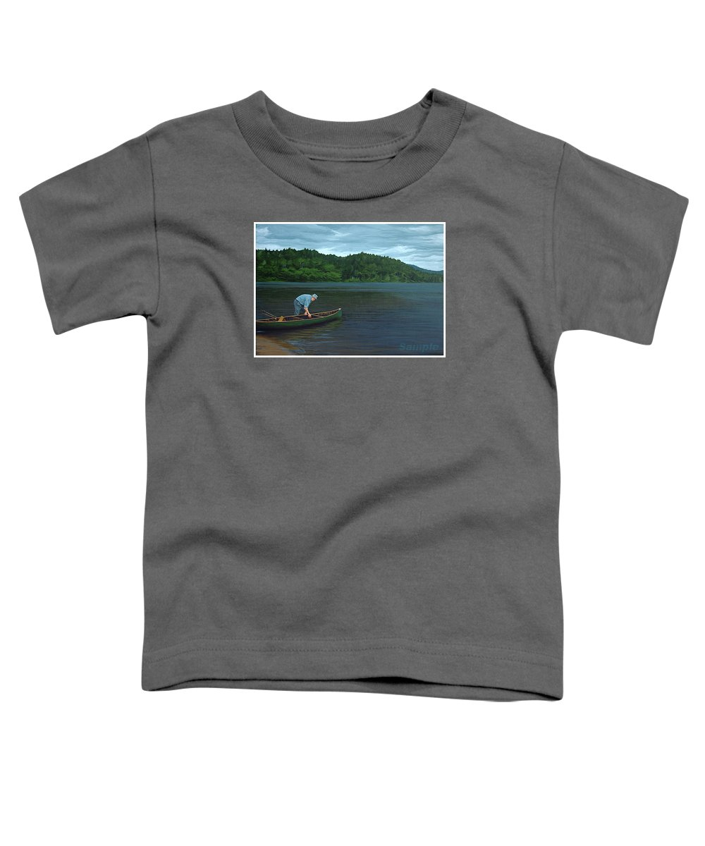 Landscape Toddler T-Shirt featuring the painting The Old Green Canoe by Jan Lyons
