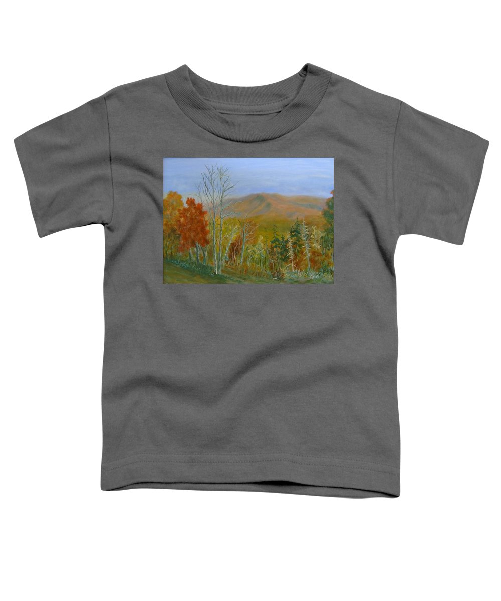 Mountains; Trees; Fall Colors Toddler T-Shirt featuring the painting The Parkway View by Ben Kiger