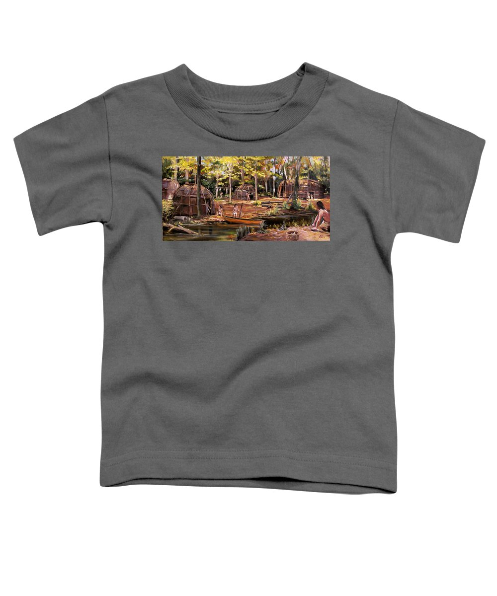 Institute Of American Indian Toddler T-Shirt featuring the painting The Pequots by Nancy Griswold