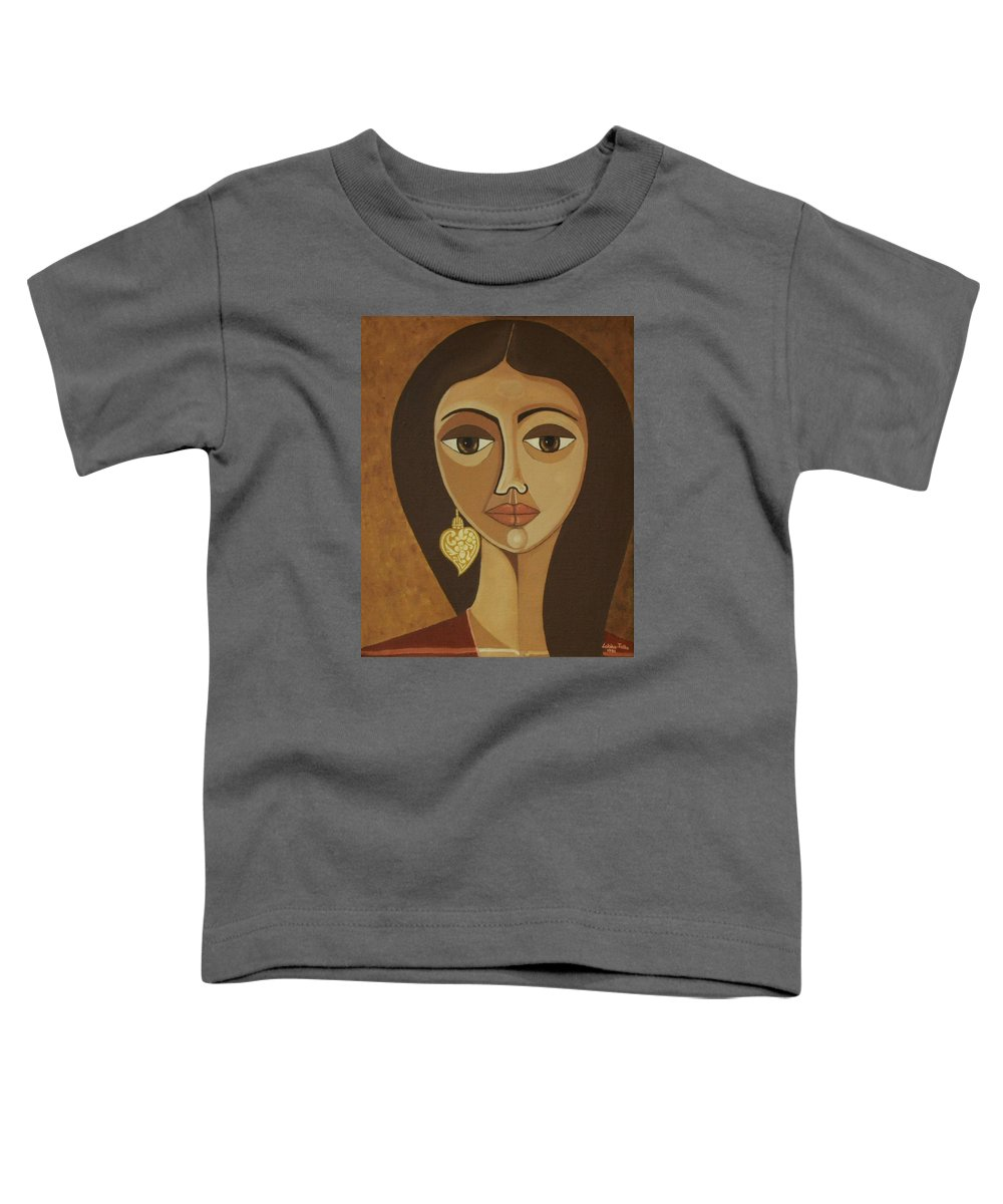 Portuguese Toddler T-Shirt featuring the painting The Portuguese Earring by Madalena Lobao-Tello