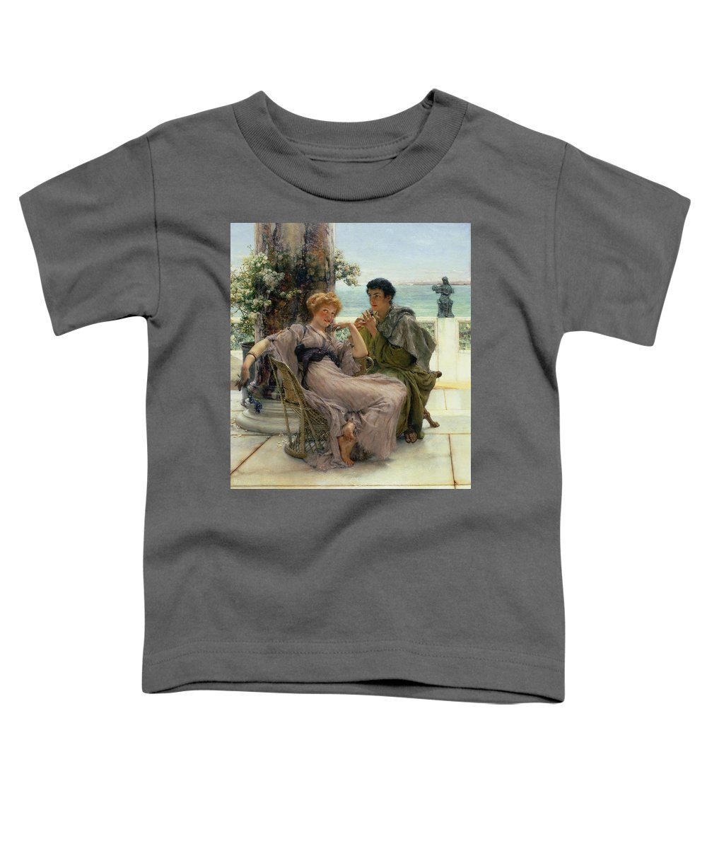 Courtship (the Proposal) 1892 (oil On Canvas) By Sir Lawrence Alma-tadema (1836-1912) Toddler T-Shirt featuring the painting The Proposal by Sir Lawrence Alma Tadema