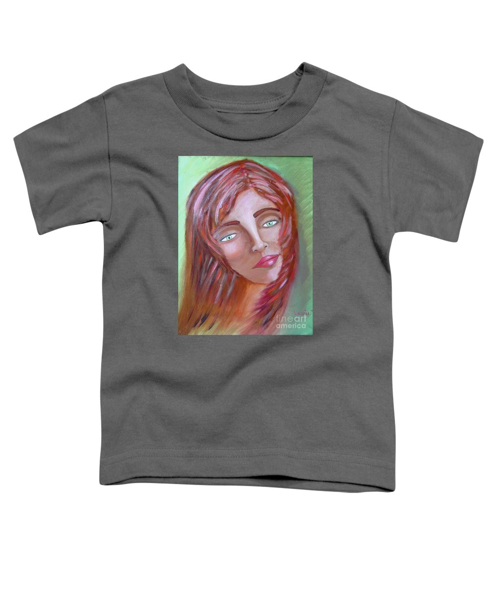 Redheads Toddler T-Shirt featuring the painting The Redhead by Laurie Morgan