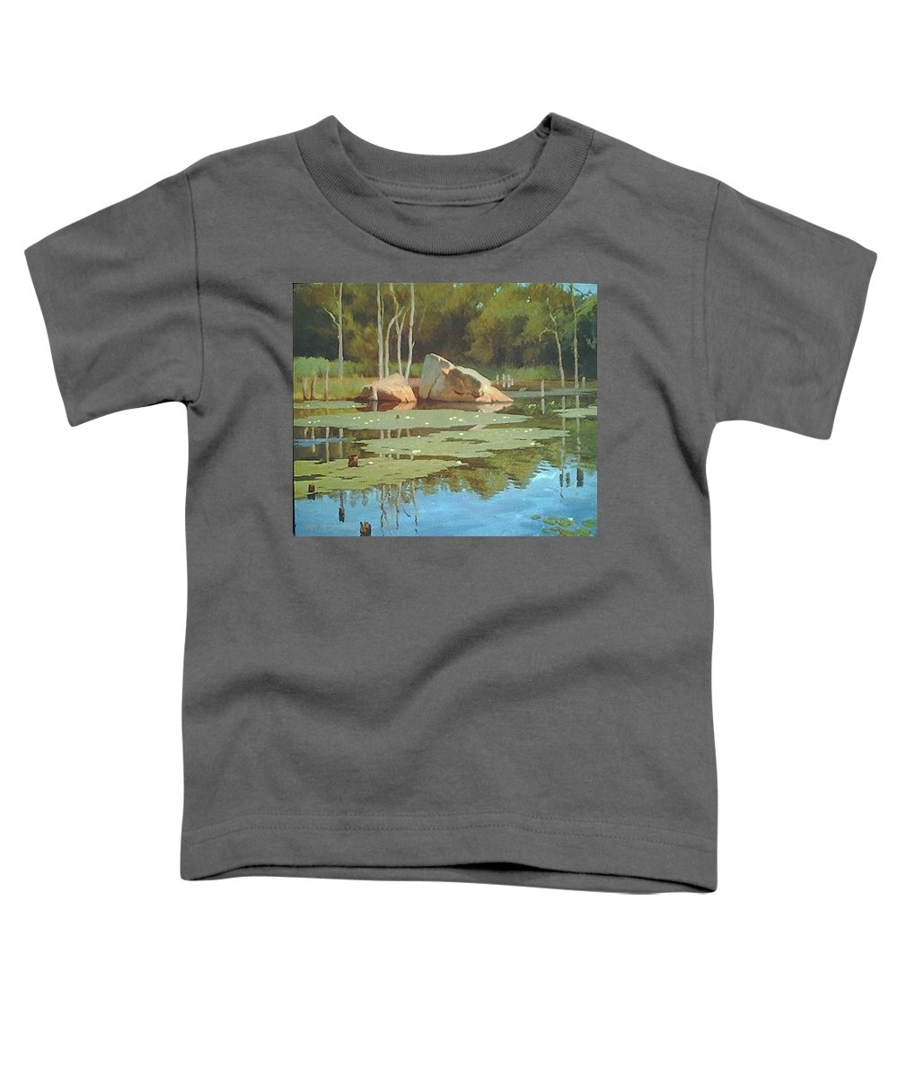 Landscape Toddler T-Shirt featuring the painting The Rock by Dianne Panarelli Miller