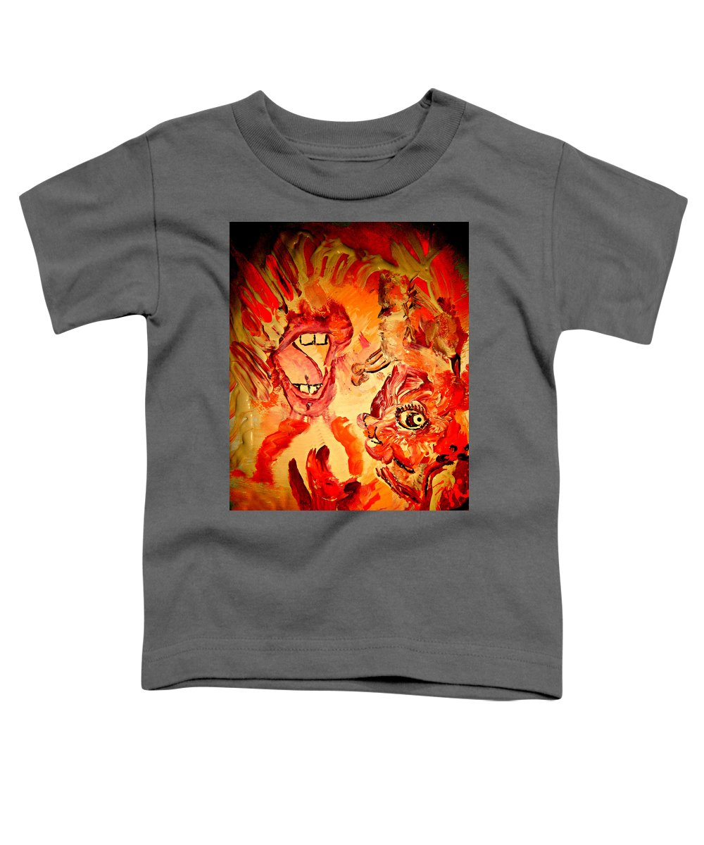 Seven Sins Art Toddler T-Shirt featuring the painting The Seven Sins Gluttony by Colleen Ranney