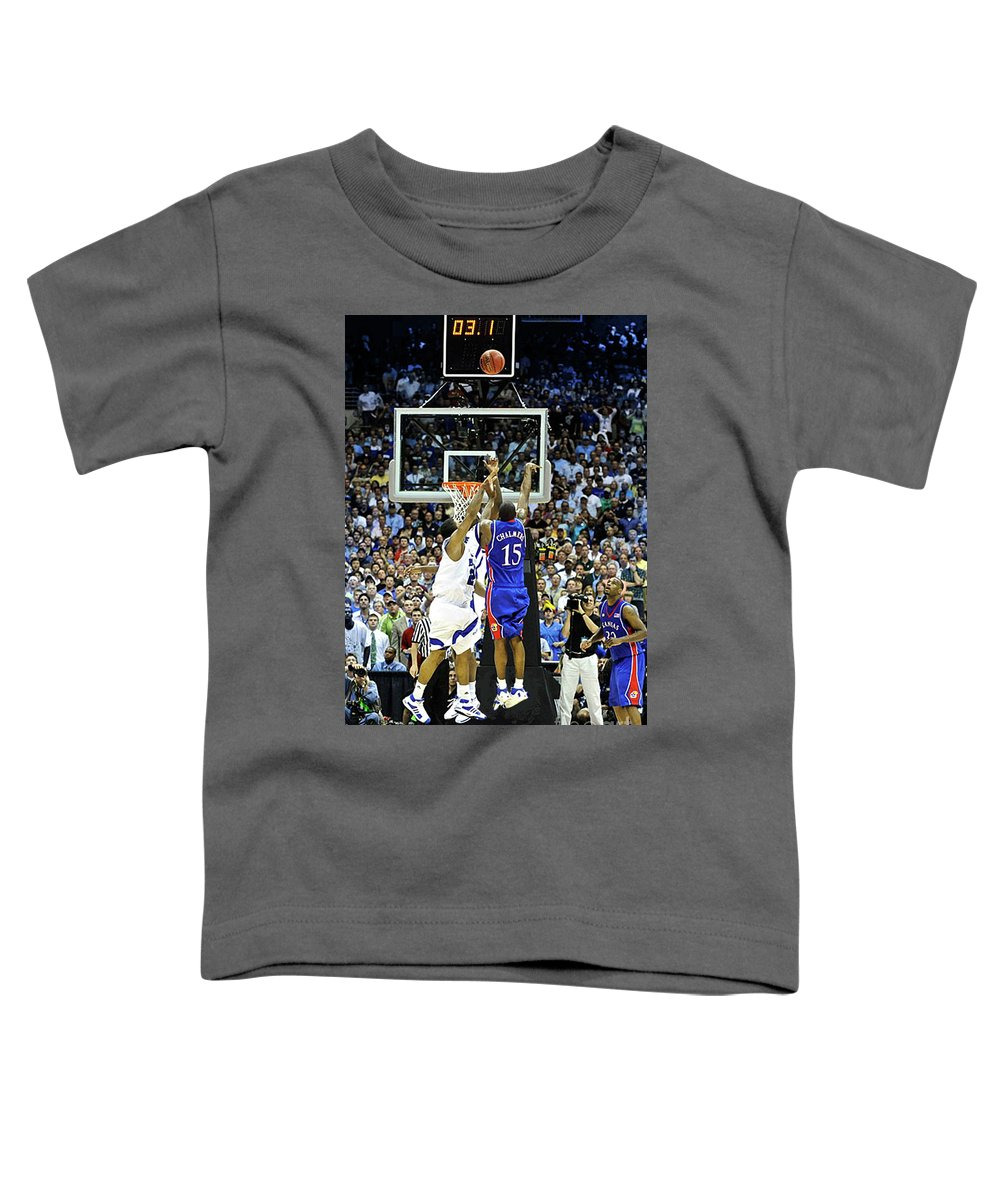 3.1 Seconds On The Shot Clock Toddler T-Shirt featuring the photograph The shot, 3.1 seconds, Mario Chalmers magic, Kansas Basketball 2008 NCAA championship by Thomas Pollart