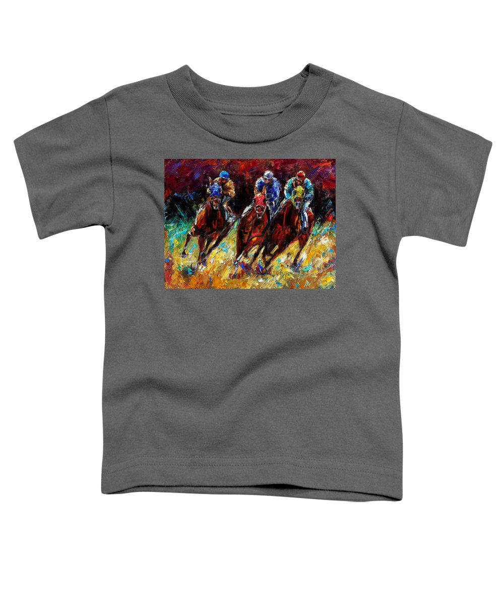 Horses Paintings Toddler T-Shirt featuring the painting The Turn by Debra Hurd