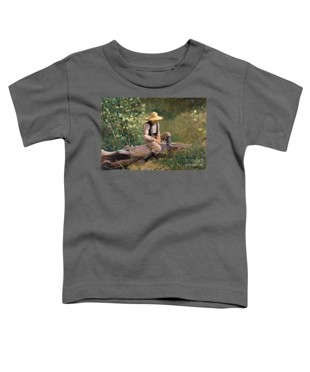 The Whittling Boy Toddler T-Shirt featuring the painting The Whittling Boy by Winslow Homer