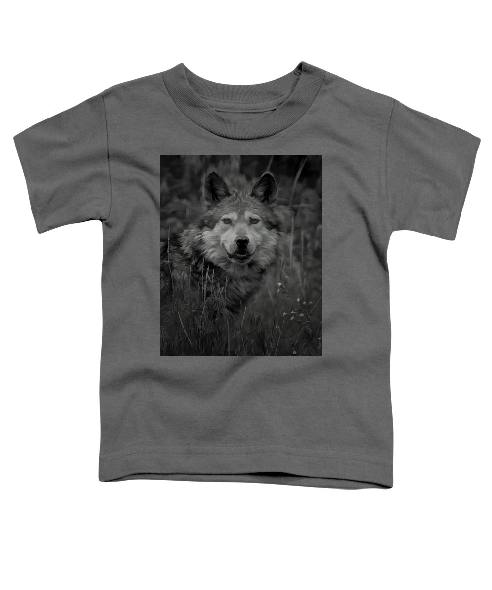 Wolf Toddler T-Shirt featuring the digital art The Wolf Bw by Ernie Echols