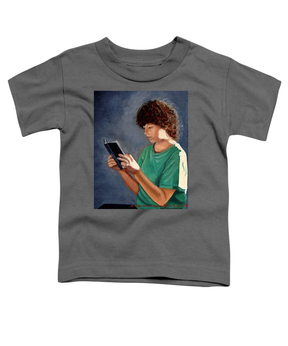 Portrait Toddler T-Shirt featuring the painting Thirst For Knowledge by Toni Berry