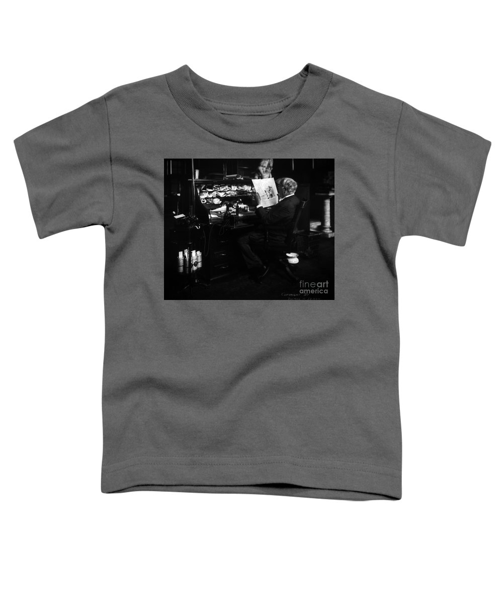 Thomas Edison Toddler T-Shirt featuring the photograph Thomas Edison Reading by Sad Hill - Bizarre Los Angeles Archive