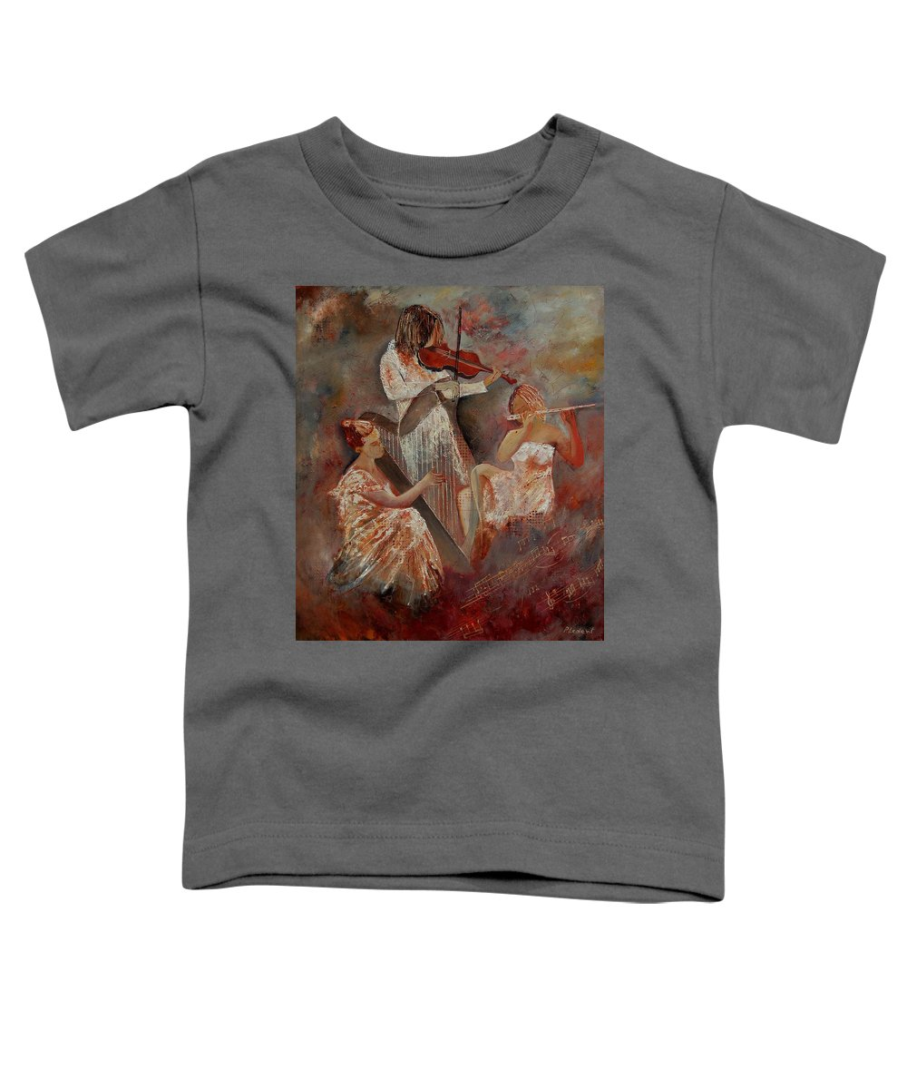 Music Toddler T-Shirt featuring the painting Three Musicians by Pol Ledent