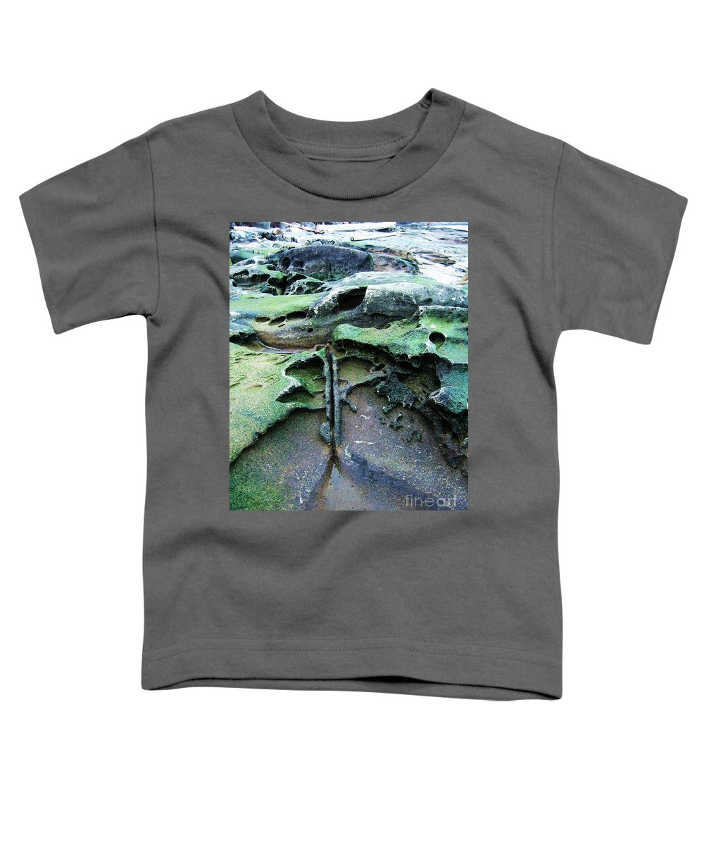 Photograph Rock Beach Ocean Toddler T-Shirt featuring the photograph Time Washed Out by Seon-Jeong Kim