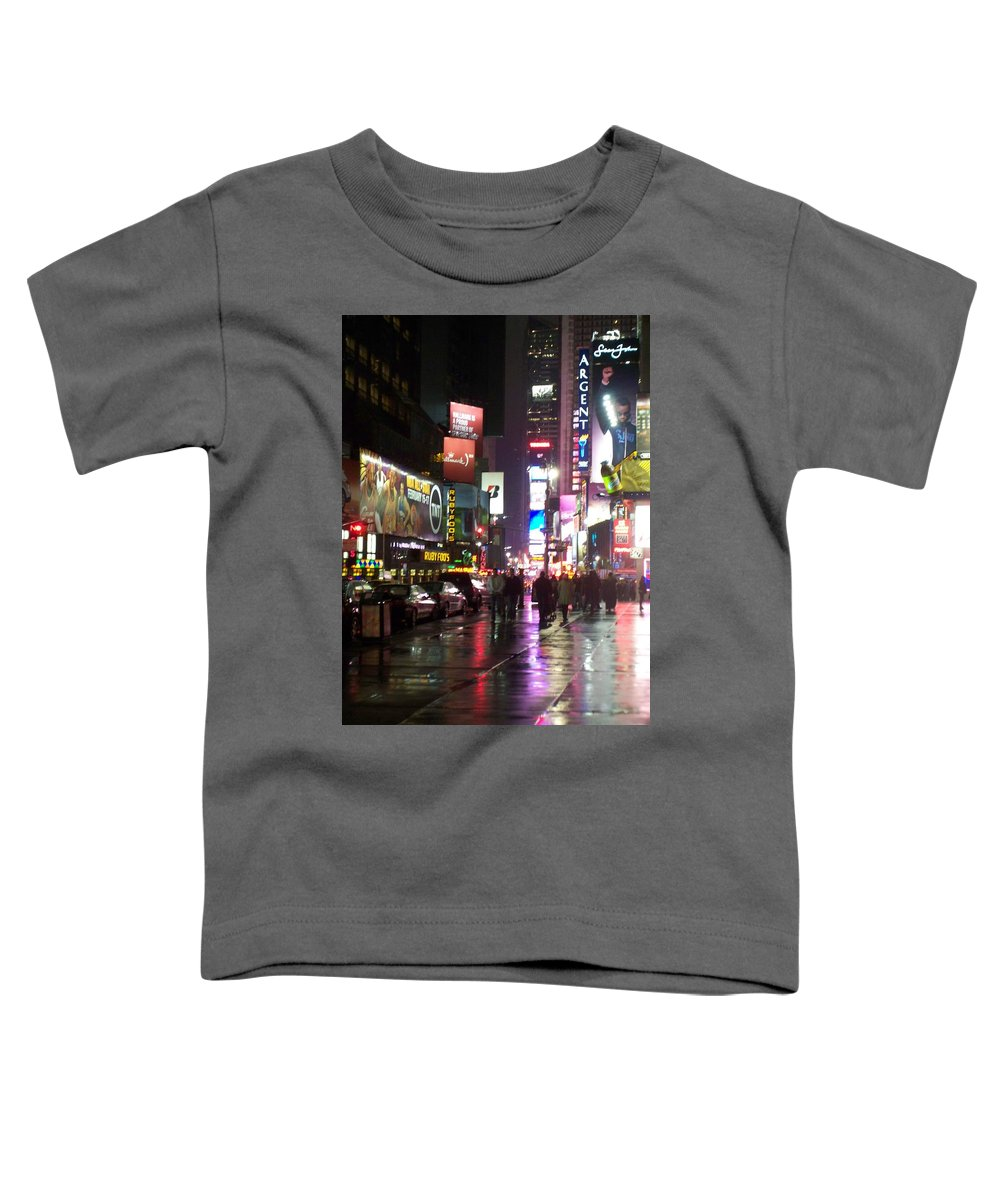 Times Square Toddler T-Shirt featuring the photograph Times Square In The Rain 1 by Anita Burgermeister