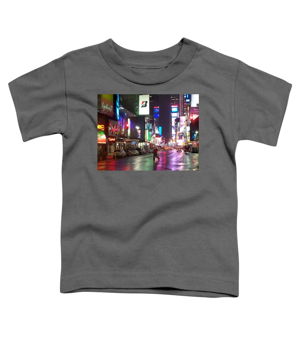 Times Square Toddler T-Shirt featuring the photograph Times Square In The Rain 2 by Anita Burgermeister