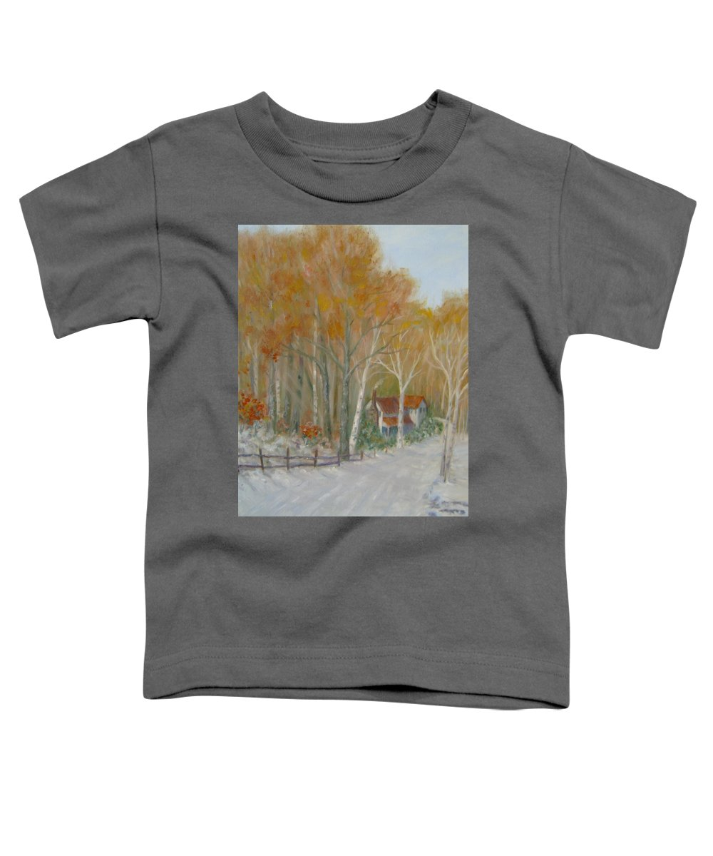 Country Road; House; Snow Toddler T-Shirt featuring the painting To Grandma's House by Ben Kiger