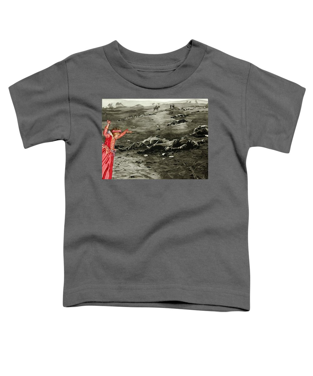 War Toddler T-Shirt featuring the painting Too Late by Valerie Patterson