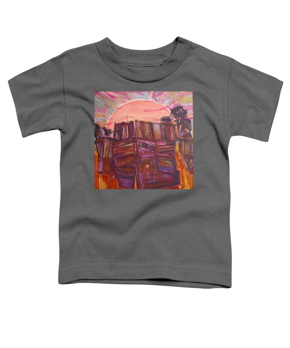Oil Toddler T-Shirt featuring the painting Tracks by Sergey Ignatenko