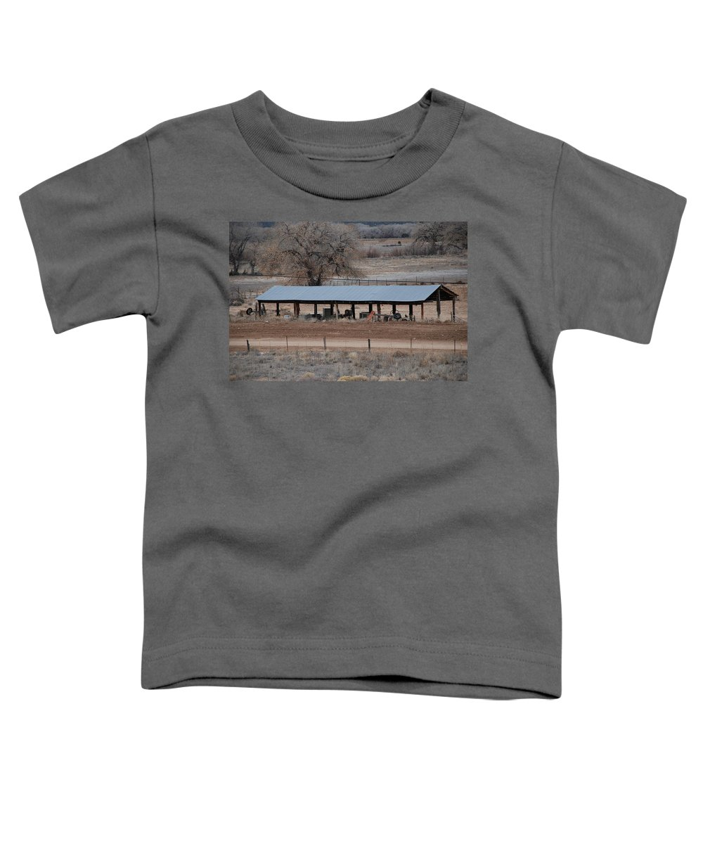 Architecture Toddler T-Shirt featuring the photograph Tractor Port On The Ranch by Rob Hans