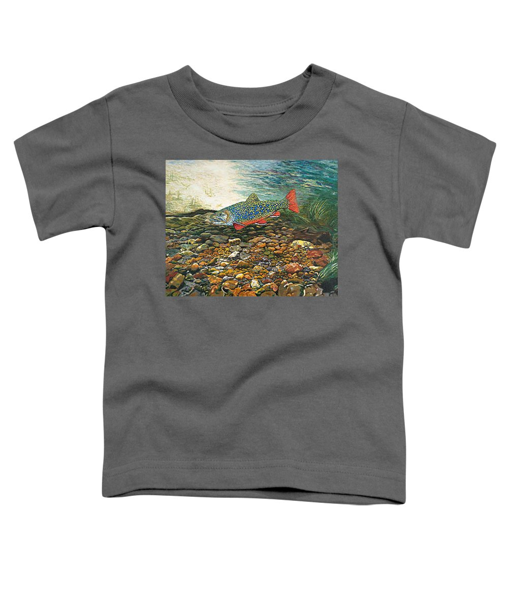 Art Toddler T-Shirt featuring the painting Trout Art Fish Art Brook Trout Suspended Artwork Giclee Fine Art Print by Baslee Troutman