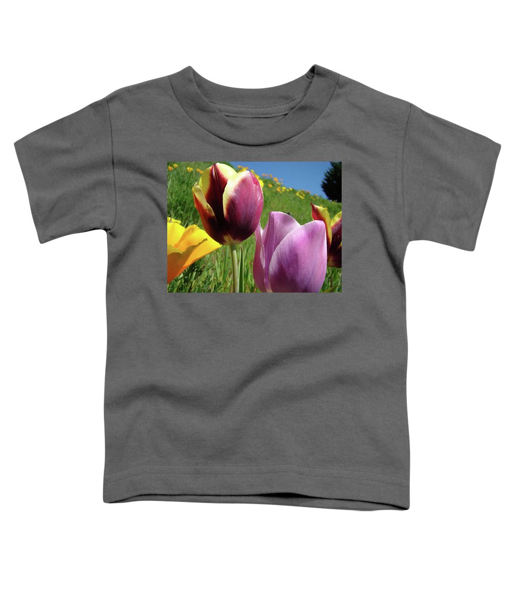 �tulips Artwork� Toddler T-Shirt featuring the photograph Tulips Artwork Tulip Flowers Spring Meadow Nature Art Prints by Baslee Troutman