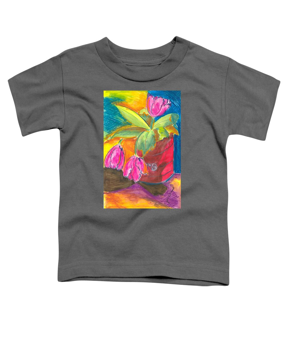 Flowers Toddler T-Shirt featuring the painting Tulips In Can by Jean Blackmer