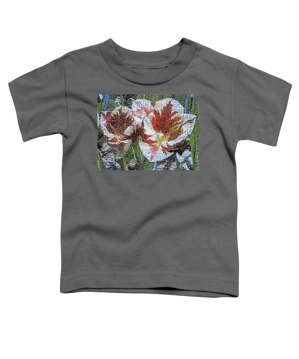 Lighthouse Toddler T-Shirt featuring the photograph Tulips In Springtime Photomosaic by Michelle Calkins
