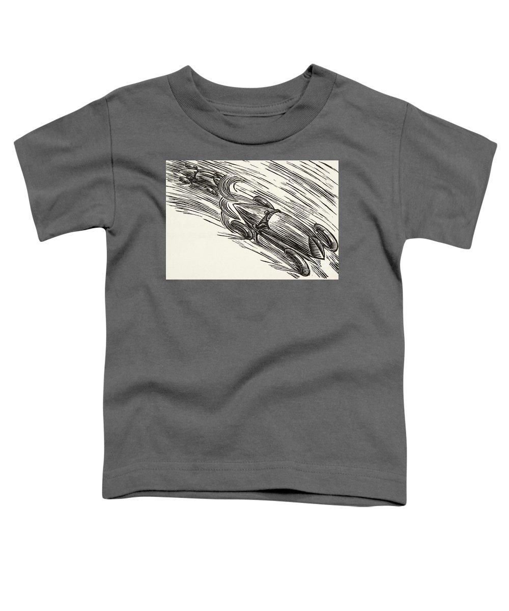 Car Toddler T-Shirt featuring the drawing Twenties Motor Racing by German School