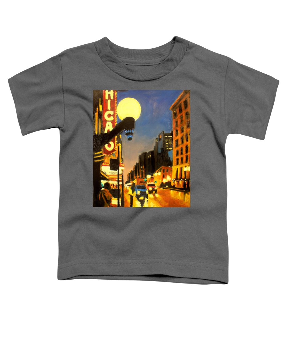 Rob Reeves Toddler T-Shirt featuring the painting Twilight In Chicago - The Watcher by Robert Reeves