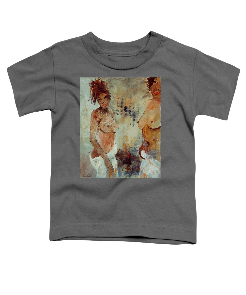 Girl Nude Toddler T-Shirt featuring the painting Two Black Sisters by Pol Ledent