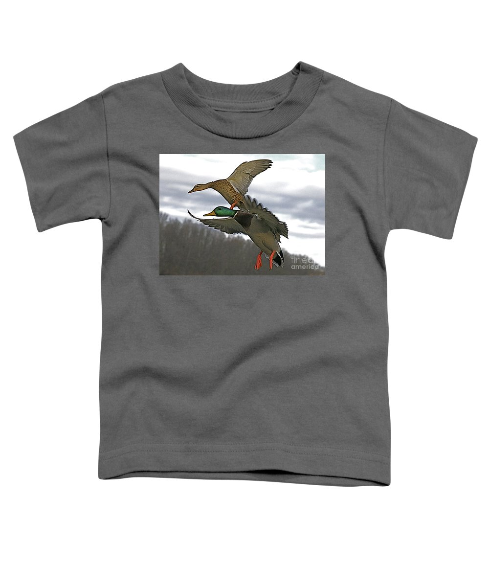 Duck Toddler T-Shirt featuring the photograph Two Land by Robert Pearson