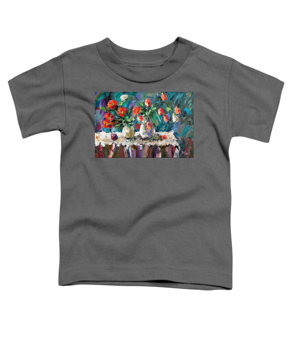 Flowers Toddler T-Shirt featuring the painting Two White Tulips by Debra Hurd