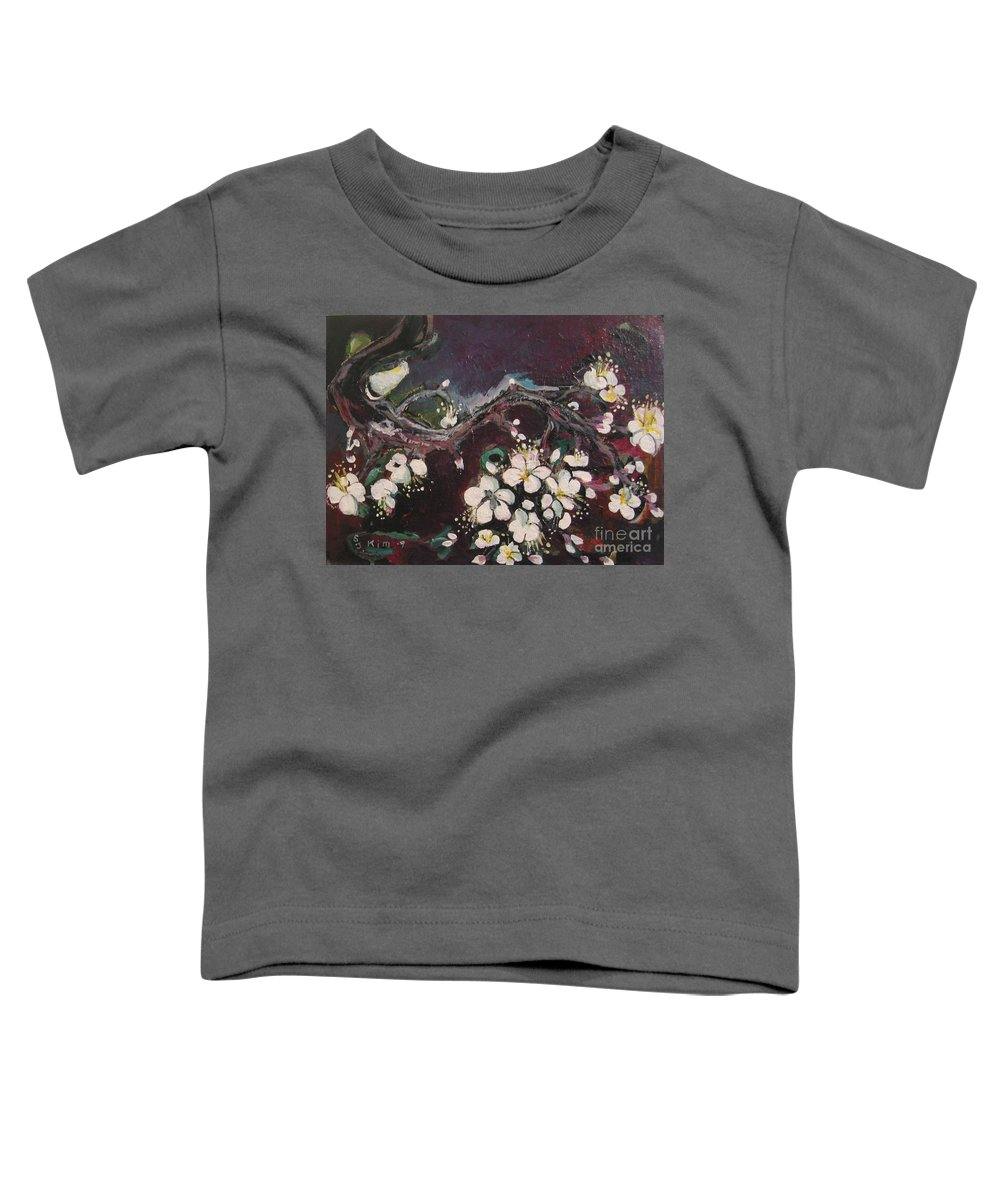 Ume Blossoms Paintings Toddler T-Shirt featuring the painting Ume Blossoms by Seon-Jeong Kim