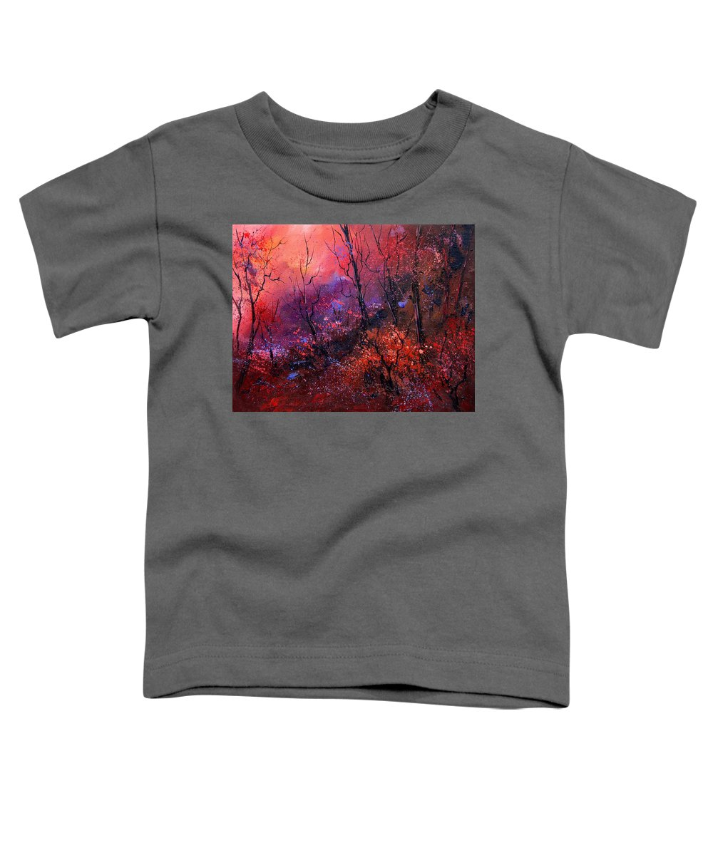 Wood Sunset Tree Toddler T-Shirt featuring the painting Unset In The Wood by Pol Ledent