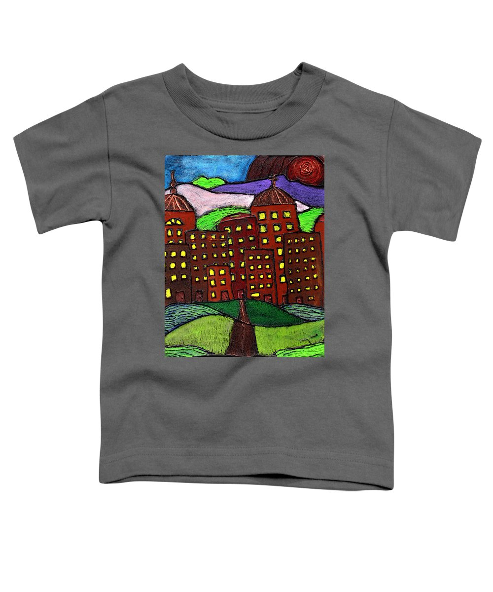 City Scape Toddler T-Shirt featuring the painting Urban Legand by Wayne Potrafka