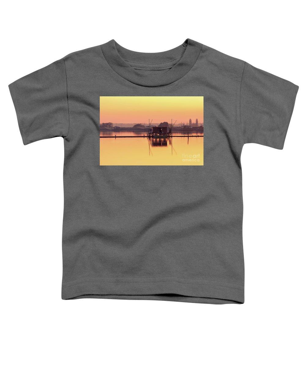 Po River Toddler T-Shirt featuring the photograph Valli Di Comacchio Sunset Ferrara Emilia Romagna Italy by Luca Lorenzelli