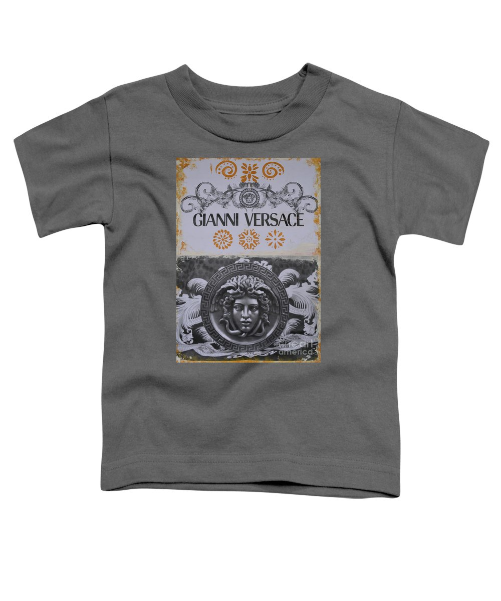 Gianni Versace Toddler T-Shirt featuring the mixed media Versace Logo by To-Tam Gerwe