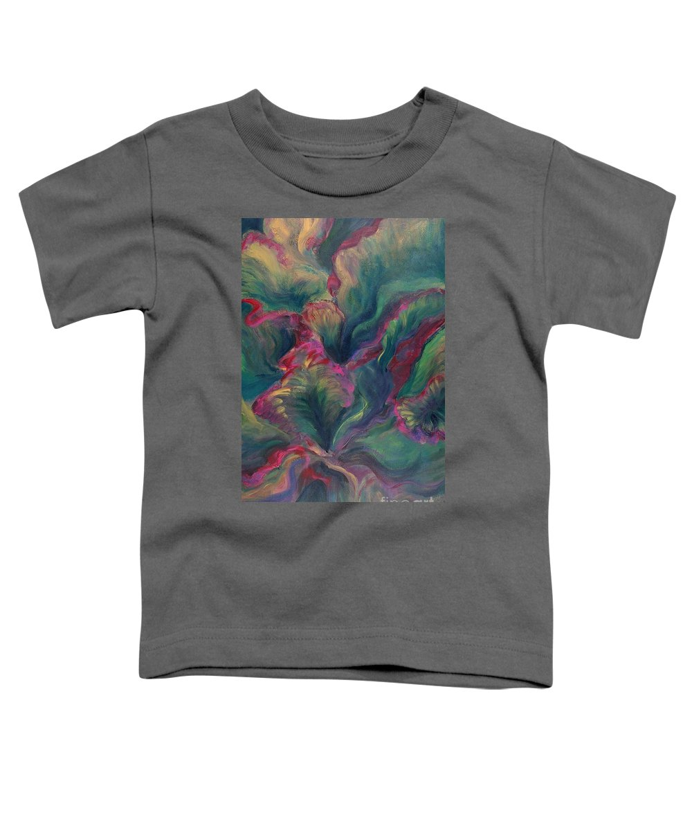 Leaves Toddler T-Shirt featuring the painting Vibrant Leaves by Nadine Rippelmeyer