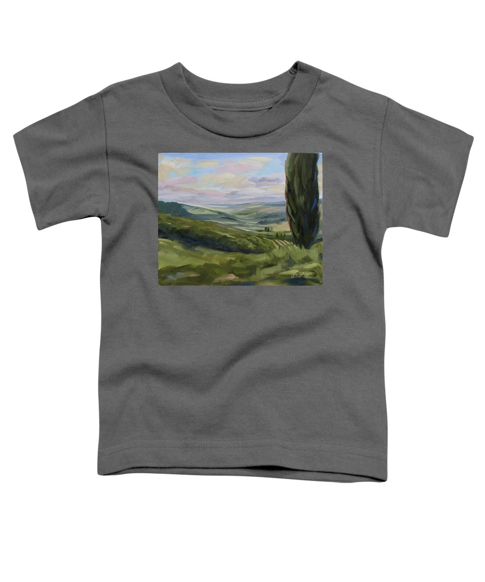 Landscape Toddler T-Shirt featuring the painting View From Sienna by Jay Johnson