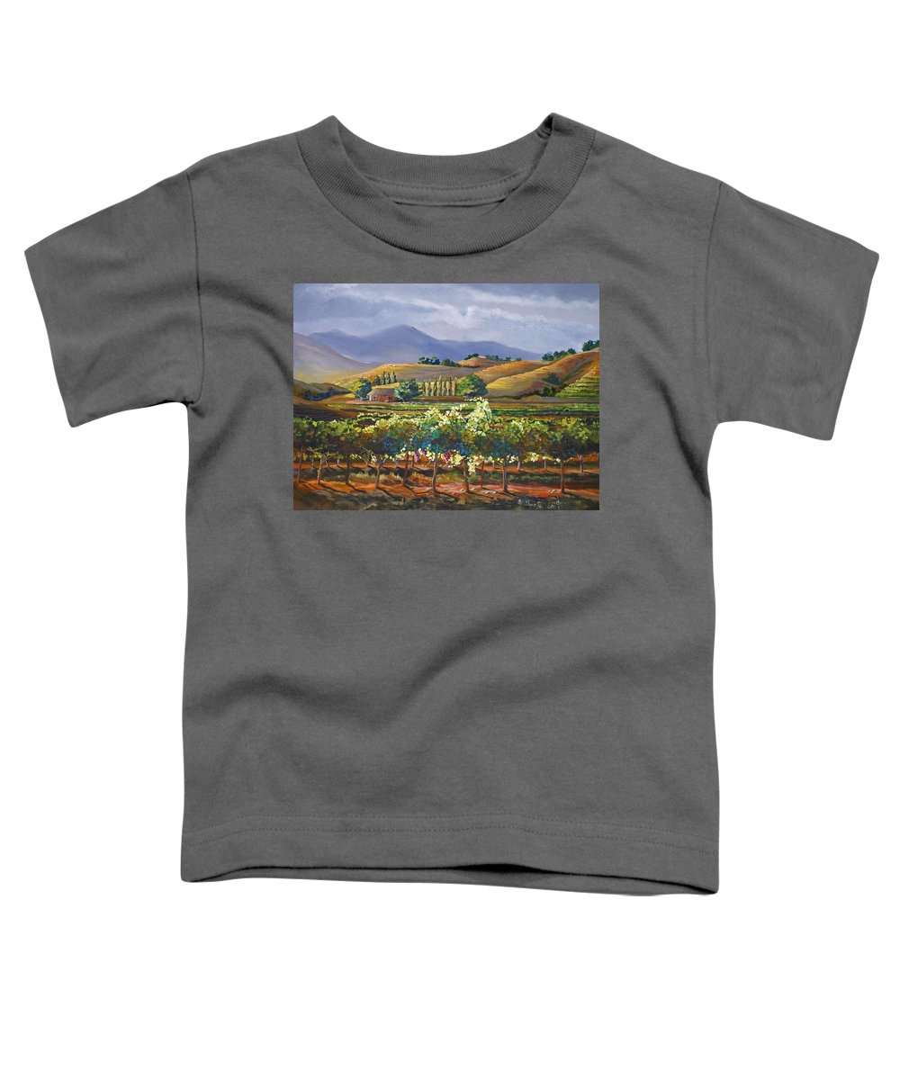 Vineyard Toddler T-Shirt featuring the painting Vineyard In California by Heather Coen