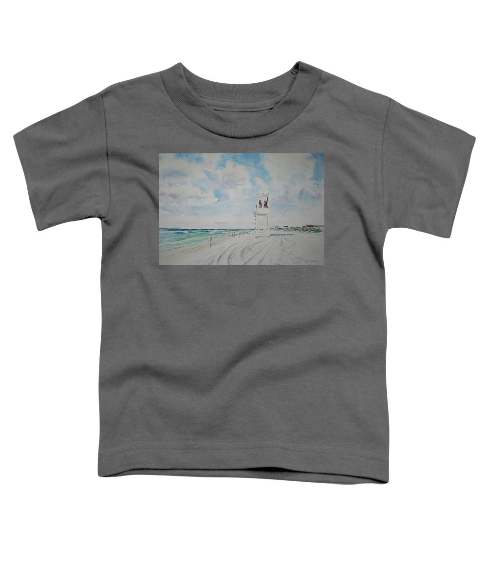 Ocean Toddler T-Shirt featuring the painting Waiting For The Lifeguard by Tom Harris