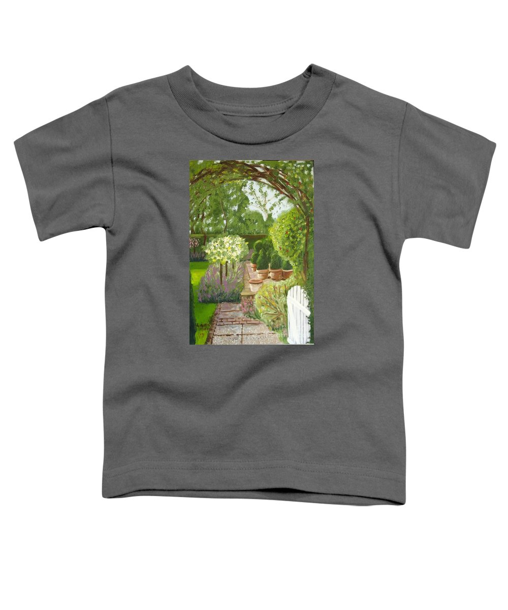 Garden Toddler T-Shirt featuring the painting Walk With Me by Laurie Morgan
